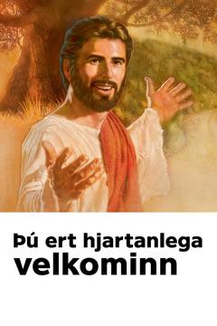 """Boðsmiði á minningarhátíðina um dauða Jesú sem ber yfirskriftina """"Þú ert hjartanlega velkominn""""."""