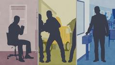 Una imagen del video Cómo prepararnos para los desastres naturales. Seven distintas maneras de ayudar a los que son víctimas de un desastre. 1. Unhermano orando por ellos. 2. Hermanos participando en labores de socorro. 3. Unhermano haciendo una donación a la obra mundial.