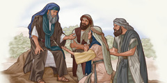 Musa ýanyna gelen aýal bilen adamyň arzyny ünsli diňleýär. Bir adam olara seredýär.