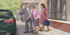 Posle sastanka, brat pomaže starijoj sestri da dođe do kola, a mlada sestra hoda pored nje.