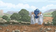 Sveštenici prelaze preko suvog rečnog korita Jordana noseći kovčeg saveza.
