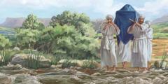 Sveštenici su zakoračili u nabujalu reku Jordan noseći kovčeg saveza.
