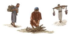 Gabaon llaqtayuq runakunapa imakuna ruwasqanku. 1 kaq dibujo: Hukmi yantata qipichkan. 2 kaq dibujo. Hukninñataq yantata waskawan watachkan. 3 kaq dibujo. Hukñataq yakuta apachkan.