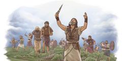 Yosua karo prajurit Israèl njaluk Yéhuwah nggawé matahari mandheg.