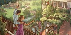 U raju, bračni par sa svog balkona maše prijateljima.