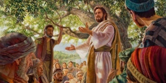 The resurrected Jesus meeting with his apostles and others in Galilee, instructing them to 'go ... and make disciples.'