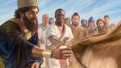 Dziesięciu ludzi zróżnych narodów stara się chwycić szatę Żyda