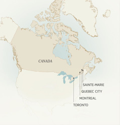 A map showing Canadian cities where Léonce Crépeault served: Sainte-Marie, Quebec City, Montreal, and Toronto.