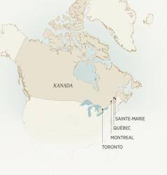 Kartta Kanadan kaupungeista, joissa Léonce Crépeault on palvellut: Sainte-Marie, Québec, Montreal ja Toronto.