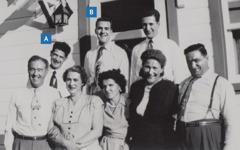 Léonce Crépeault e John Rae com alguns amigos.