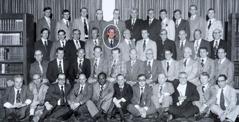 Léonce Crépeault com outros superintendentes viajantes em1977, durante uma reunião em Toronto, Canadá.