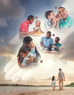 Serie de imágenes: la mano de Jehová detrás de las fotos representa cómo nos cuida. 1. Unpadre escucha con atención a su hijito. 2. Unpadre come con su niña. 3. Unpadre y su hijo lavan juntos los platos. 4. Unpadre abraza a su hijito. 5. Unpadre camina por la playa con su hija y la lleva de la mano.