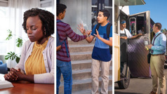 Collage: 1. A sister sitting at a table with an open Bible as she prays. 2. A young brother rejecting a cigarette that is offered by a schoolmate. 3. A brother showing a tract to a cook in a food truck.