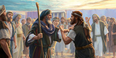 Moses, Joshua, and a group of Israelite elders are standing near the tent of meeting. Joshua is asking Moses to restrain two men who are behaving like prophets.