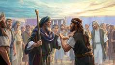 Moses, Joshua, and a group of Israelites are standing near the tent of meeting. Joshua is asking Moses to restrain two men who are behaving like prophets.
