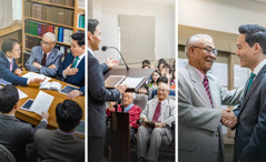 Collage: 1.At a meeting of the body of elders, an older brother is asked to train a younger elder to conduct the Watchtower Study. 2.The younger elder conducting the Watchtower Study while the older brother is sitting down and paying attention. 3.The older brother shaking the younger elder's hand and commending him.