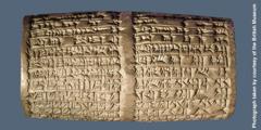 Cilindro de arcilla en el que aparece el nombre de Belsasar.