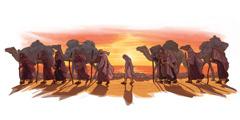 โยเซฟกับพวกพ่อค้าชาวมีเดียนกำลังเดินทางไปอียิปต์