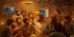 Jesus rät met siene true Apostel