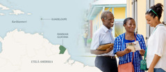Kuvat: 1. Kartta, jossa näkyvät Karibianmeri, Guadeloupe ja Etelä-Amerikassa sijaitseva Ranskan Guayana. 2. Jack ja Marie-Line puhuvat naiselle kenttätyössä.