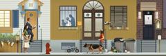Verschiedene Szenen: Ein Ehepaar geht aufmerksam von Haus zu Haus. 1.Das Ehepaar vor einem gepflegten Haus mit Blumen. 2.In einer Wohnung spielt ein Vater mit seiner kleinen Tochter. Vor dem Haus steht ein Kinderfahrrad. 3.Ein Haus, das ziemlich unordentlich aussieht. Die Fensterscheibe ist zerbrochen, der Mülleimer läuft über und auf dem Boden liegt Abfall. 4.Eine Wohnung mit einem Kreuz an der Tür und einer Marienstatue in einer Nische. 5.Eine Frau geht mit ihrem Hund den Bürgersteig entlang.