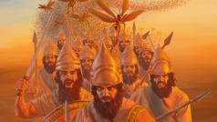 Bann solda Babilonnyen avek zot lepe ek lans dan zot lanmen. En lesen sotrel deryer zot.