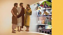 Isus grli dvojicu svojih učenika. Koraci koji će nam pomoći da učvrstimo svoje prijateljstvo s Isusom. 1.Obitelj zajedno proučava Bibliju. 2.U dvorani sestra pokušava razgovarati s drugom sestrom koja se ljuti. 3.Bračni par svjedoči na javnom mjestu sa stalkom za literaturu. 4.Na sastanku starješina na monitoru pokazuje skupštini kartu njihovog područja.