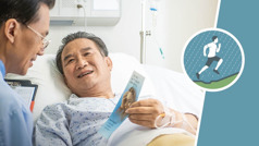 An icon of a runner ascending a hill in the rain, next to an older brother in a hospital bed, giving a tract to his doctor.