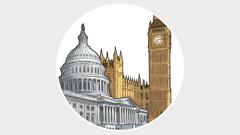 Ndërtesat qeveritare përfaqësojnë fuqinë botërore anglo-amerikane.