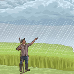 A farmer looking up to the sky as rain comes down.