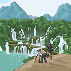 A photographer taking pictures of waterfalls and mountains.
