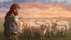 El pastor lleva en sus brazos al cordero que estaba perdido. Leha vendado la pata herida, y el resto del rebaño está junto al pastor.