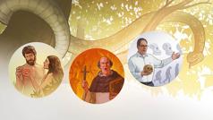 Zmija na drvetu. 1.Eva nudi zabranjeni plod Adamu. 2.Vjerski vođa iznosi propovijed, a u rukama drži križ i Bibliju. Iza njega se vide siluete ljudi koji gore u vatri. 3.Učitelj u ruci drži lubanju i pokazuje rukom na grafički prikaz evolucije čovjeka.