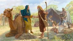 Abrahamu ali arhabala Sara okushona okw'ipunda. Enyuma zabo hali abakozi bali bajira emikolo yabo ya gasi lusiku.