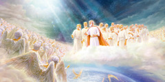 Jesus in the heavens. Next to him stand some of his corulers. Together they look at a vast number of angels. Some angels are going toward the earth to carry out their assignments.