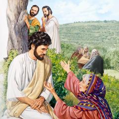 Si Jesus nakigsulti sa inahan ni Santiago ug Juan. Sa unahan, makita si Santiago ug Juan duol sa kahoy nga nagtan-aw kang Jesus ug sa ilang inahan.