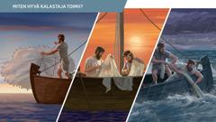 Kuva: Taitavia kalastajia kolmessa eri tilanteessa. Tilanteet liittyvät kappaleisiin 8–12.