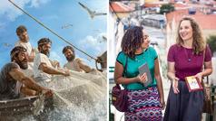 Kuvat: 1. Pietari ja kolme muuta opetuslasta vetävät kaikin voimin veneeseen verkkoa, joka on täynnä kaloja. 2. Kaksi sisarta juttelee iloisesti kenttäpalveluksessa.