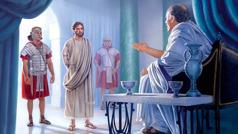 Poncio Pilato está sentado interrogando a Jesús, que está atado y custodiado por dos soldados romanos.