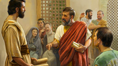 A brother challenging Timothy at a congregation meeting in the first century. Some in attendance look on in shock and others scoff at him.
