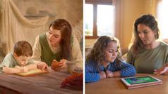 Collage: 1. Maria aiuta il piccolo Gesù a copiare un passo delle Scritture su una tavoletta. 2. Una madre usa una pubblicazione adatta ai bambini per insegnare qualcosa dalla Parola di Dio a sua figlia.