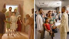 Cithunzi-thunzi: 1.Zuze, Mariya pabodzi na wana wawo afika ku sinagoga. Ajiraeri winango akumusana nawo. 2.Abereki pabodzi na wana wawo afika ku Nyumba ya Umambo. M'bale akumusana nawo.