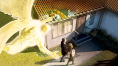 Un ange guide un couple en train de prêcher vers une maison. Dans la maison, un homme est en train de prier.