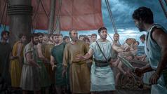 Paul et d'autres prisonniers sont sur le pont d'un bateau. Un officier romain les protège contre un soldat qui a un poignard à la main.