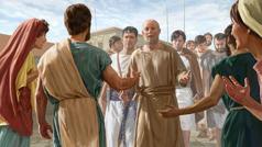 Paul, qui est prisonnier, marche accompagné de soldats. Des frères et sœurs venus de Rome le saluent chaleureusement.