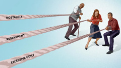 An older brother, a sister, and a young brother each pulling on a separate rope. The ropes are labeled 'nostalgia,' 'resentment,' and 'excessive guilt'.