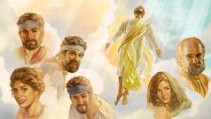 Jeesus nousee taivaaseen. Hänen ympärilleen on kuvattu joitain varhaiskristittyjä.