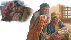 Kuvat: 1. Noomi suree kahden poikansa kuolemaa yhdessä Ruutin ja Orpan kanssa. 2. Noomi pitää Obedia sylissään, ja Ruut ja Boas iloitsevat hänen kanssaan.