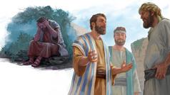 Kuvat: 1. Pietari istuu kivellä ja itkee. 2. Pietari saarnaa innokkaasti.