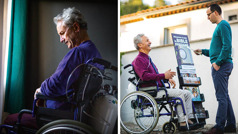 Ensemble d'illustrations: 1)Un frère est en fauteuil roulant et il respire à l'aide d'une bouteille d'oxygène; il est découragé. 2)Il prêche à l'aide d'un présentoir mobile et discute avec un homme, ce qui le rend joyeux.